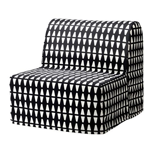 IKEA LYCKSELE MURBO Chair-bed Ebbarp black/white Comfortable and firm foam mattress for use every night.