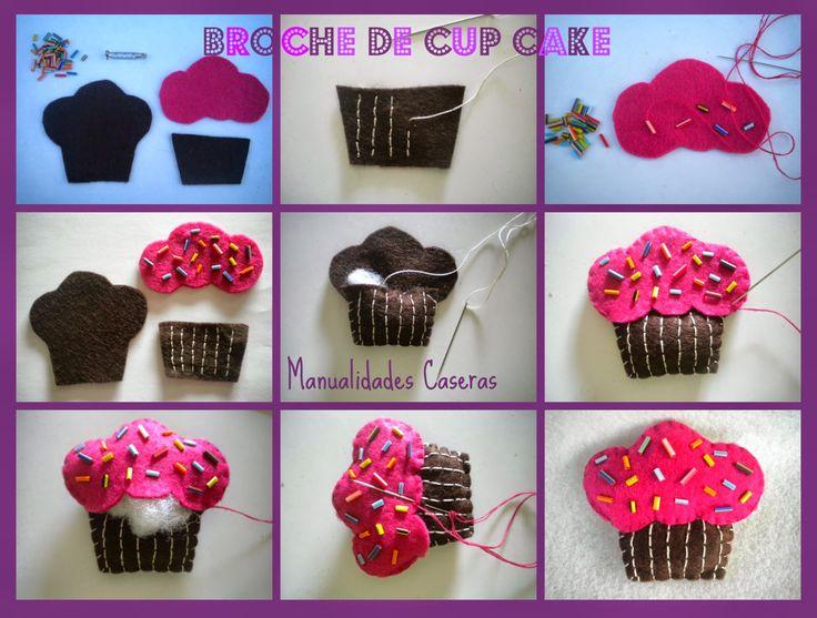 Manualidades caseras faciles como hacer un broche cup cake - Broches para manualidades ...