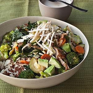 Quinoa and Brown Rice Bowl with Vegetables and Tahini | MyRecipes.com