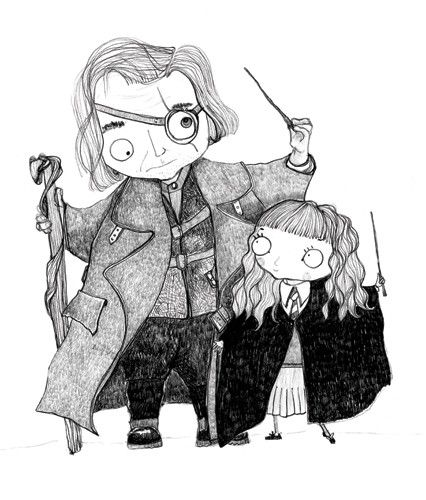 Rachelle Panagarry  Illustration - rachelle panagarry, rachelle, panagarry, line, traditional, fiction, commercial, young readers, mass market, photoshop, illustrator, painted, digital, black and white, line drawing, pen, ink, harry potter, hermione, mad eye moody, characters, protagonists, wands, wizards, magic, magical, magician, teachers, adults, man, men, males, girls, school, females, pupils, capes, uniforms, wands