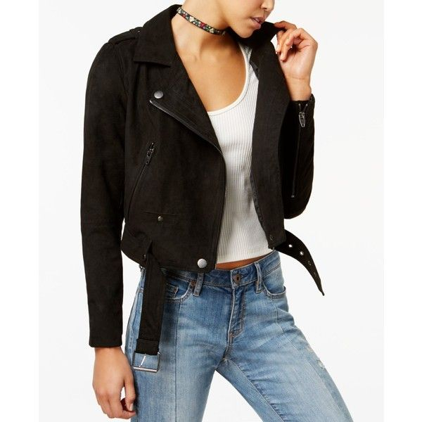 American Rag Juniors' Moto Jacket, Created for Macy's ($44) ❤ liked on Polyvore featuring outerwear, jackets, black, american rag cie jacket, motorcycle jacket, faux suede jacket, biker jackets and american rag cie