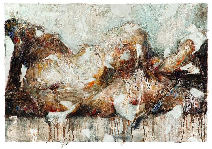 """Pintora italiana Francesca Leone fusiona cuerpos y naturaleza en su primera exposición en Chile. Del 6 de marzo al 4 de mayo en el MAC, Parque Forestal. (Obra """"Corpo e terra 15"""" 2013- tecnica mixta- 140x205 cm)"""