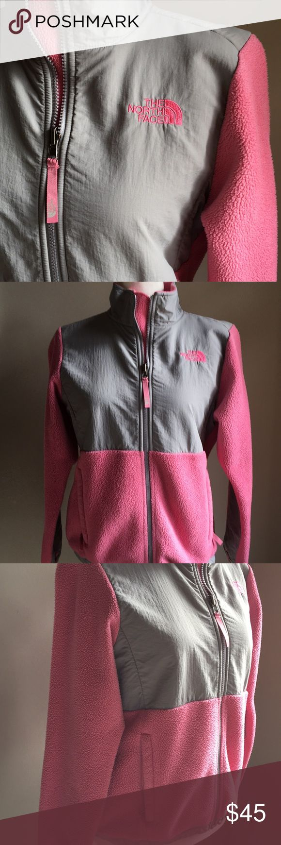 North Face Denali Coat In excellent preloved condition. Girls North Face Denali coat. Super cute and warm without flaws. Great pink & grey color that'll take her into the spring! Size large (14-16) Girl. The North Face Jackets & Coats