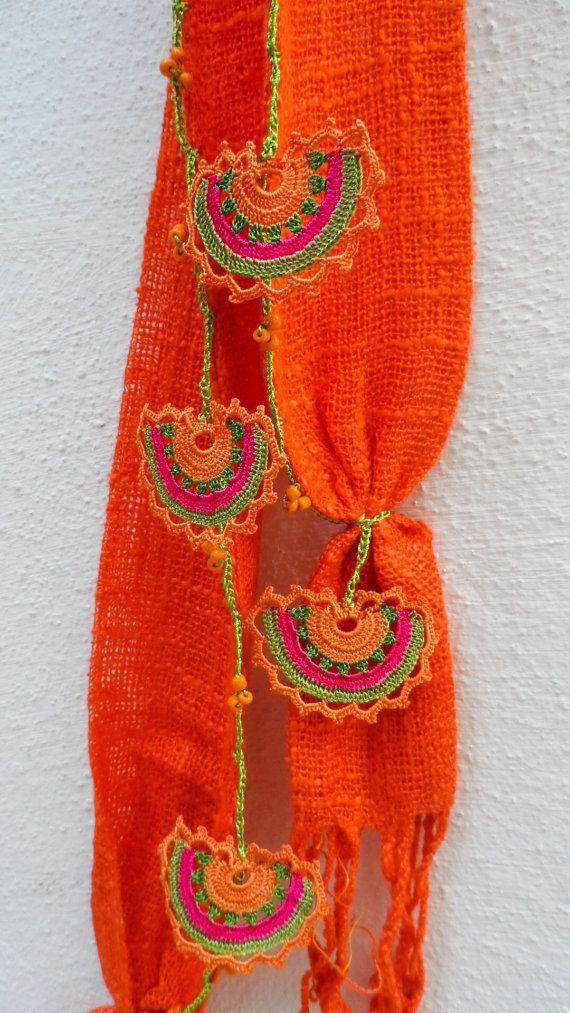 Crochet Scarf Handmade Orange Crocheted Scarf by ForGoodPeople, $45.00