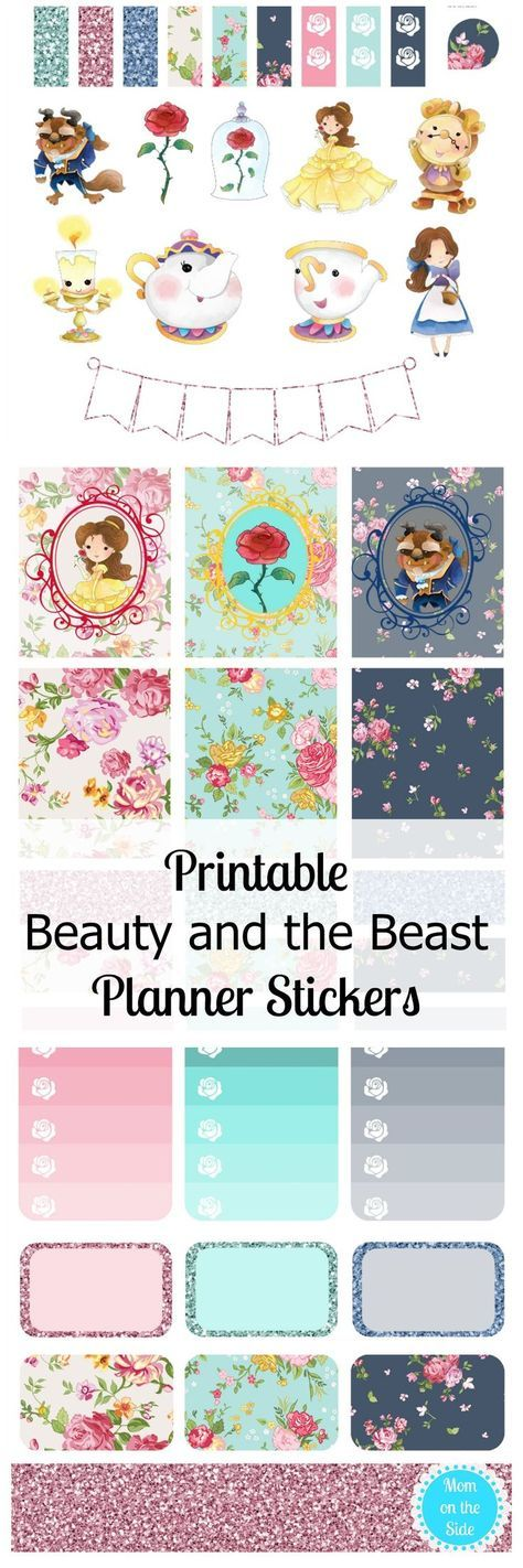 Free Printable Beauty and the Beast Planner Stickers from Mom on the Side