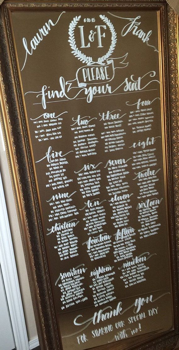 Custom Floor Length Leaning Mirror Seating Charts for Weddings by coastalcalligraphy. Explore more products on http://coastalcalligraphy.etsy.com