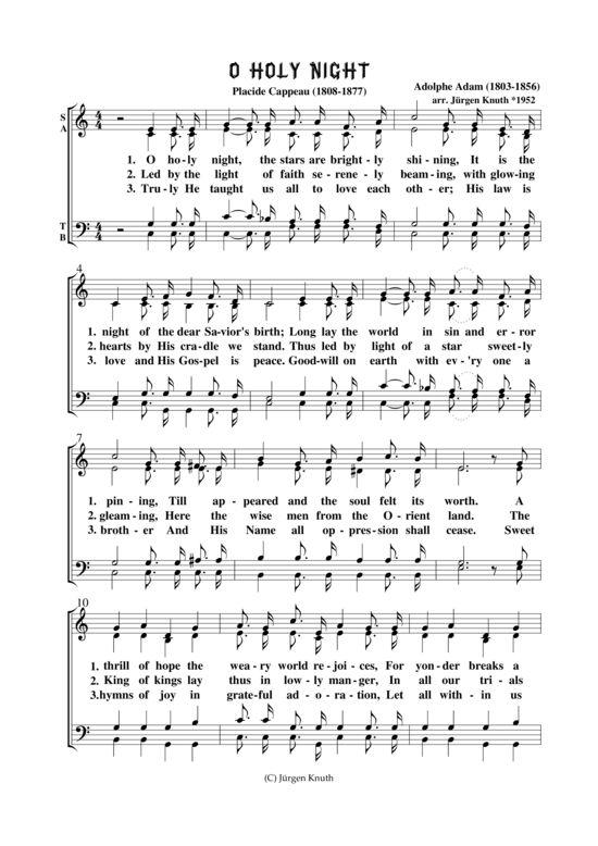 O Holy Night (Gemischter Chor) Adolphe Adam (1803-1856) >>> KLICK auf die Noten um Reinzuhören <<<
