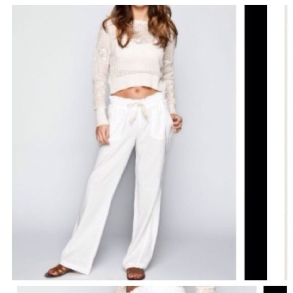 "HPWhite Beach Pants These super soft and comfortable beach pants will be your favorite pants for the summer. Front slant pockets, back pockets. Elastic waist, drawstring closure. All sizes measure 31"" inseam. Fabric is viscose, feels like a soft linen. The Sicily Swim Coverups"