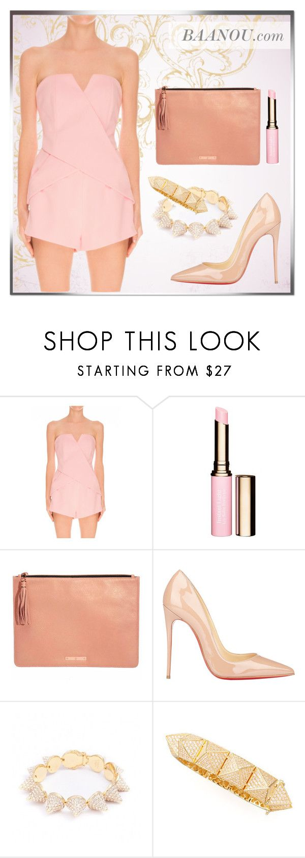 """""""In Between Days Playsuit"""" by baanou ❤ liked on Polyvore featuring Finders Keepers, Clarins, Christian Louboutin and Eddie Borgo"""