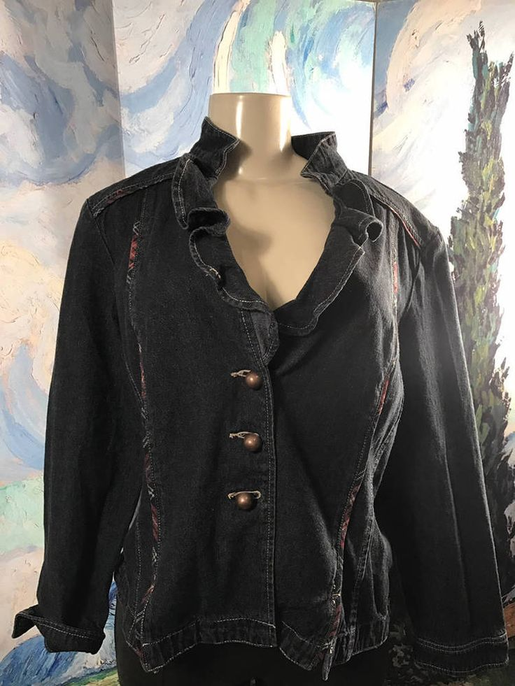 Dressbarn XL Black Denim Button Down Ruffle Neckline Long Sleeve Jean Jacket  #Dressbarn #RUFFLECOLLAR #Casual