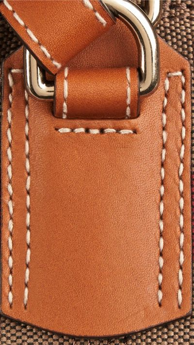 Saddle brown The Medium Ashby in Canvas Check and Leather 5