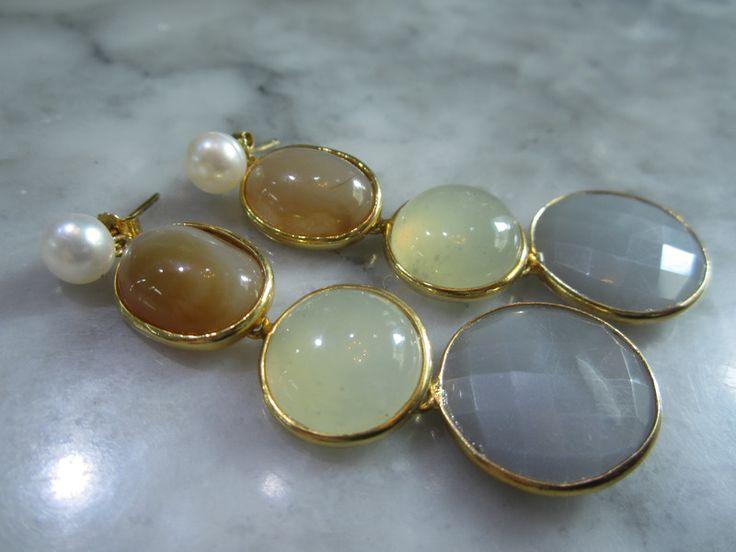 Rosenquarz - Ohrringe Mondstein Perle Ohrstecker Biwa Luxus - ein Designerstück von TOMKJustbe bei DaWanda
