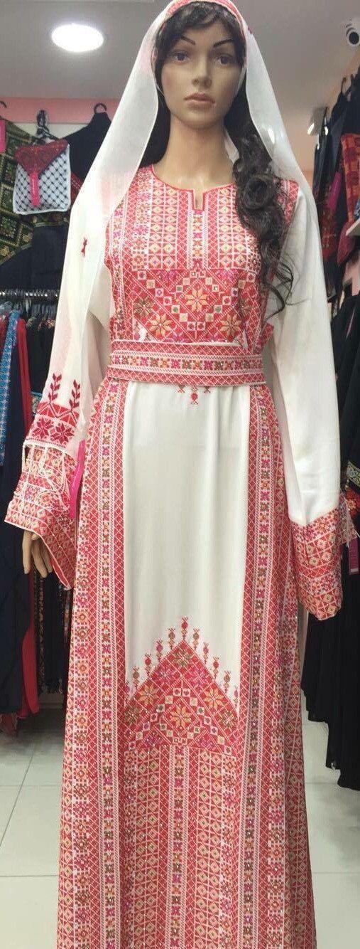 White traditional dress / Kaftan / Thob / by PalestinianStitches