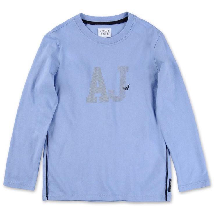T-SHIRT ARMANI JUNIOR,    T-Shirt a manica lunga di Armani Junior da bambino di colore azzurro, girocollo, finiture a contrasto blu, serigrafica AJ.   http://www.abbigliamento-bambini.eu/compra/t-shirt-manica-lunga-armani-junior-2735219