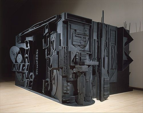 Louise Nevelson's wooden sculptures resemble jigsaw puzzles because as an artist, she doesn't seem to fit anywhere.