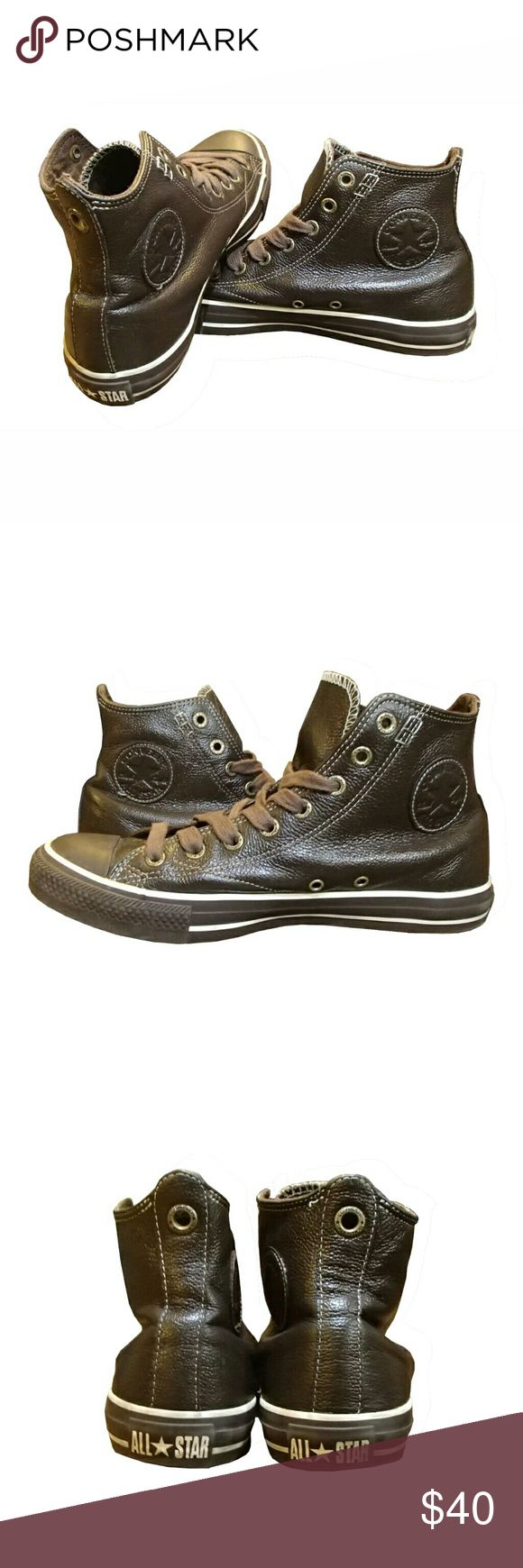 Converse all star Chuck Taylor brown leather Chuck taylors, high tops, Brown leather Converse Shoes