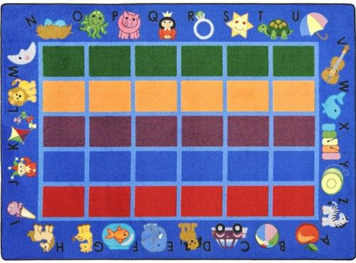 Beautiful Alphabet Phonics Blue Border Classroom Rug 5u00274 X 7u00278