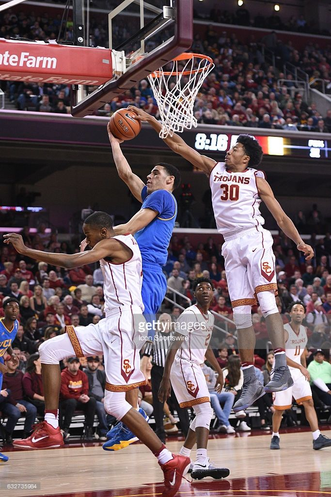 USC guard Elijah Stewart (30) blocks UCLA guard Lonzo Ball (2) during an NCAA basketball game between the UCLA Bruins and the USC Trojans on January 25, 2017, at the Galen Center in Los Angeles, CA.
