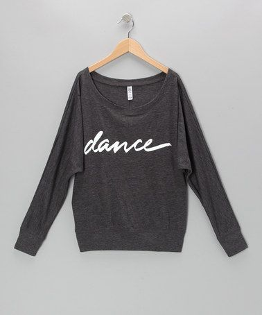 Take a look at this Dark Gray 'Dance' Dolman Top - Girls by Dancewearables on #zulily today!