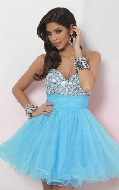 A-line Sweetheart Knee-length Tulle Natural Evening Dresses gt1246