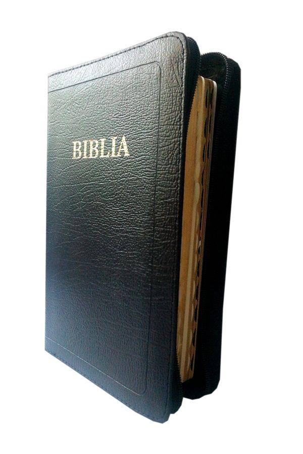 Biblie de lux, mare, din piele, cu fermoar, index, margini aurii, fara cruce [SI 073 PFI]