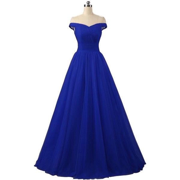 Nina A-line Tulle Prom Formal Evening Homecoming Dress Ball Gown... ($64) ❤ liked on Polyvore featuring dresses, gowns, gown, evening gowns, a line evening dresses, prom dresses, formal cocktail dresses and blue evening dresses