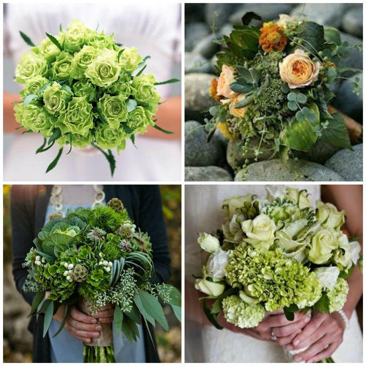 Зеленые свадебные букеты