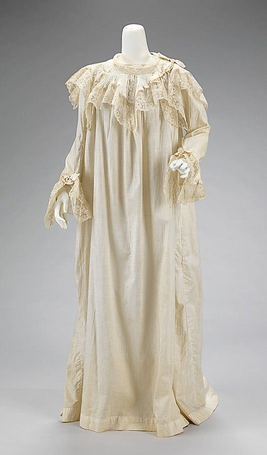 Bridal nightgown, by H Company, American, 1903. Part of a wedding ensemble with dress, petticoat, camisole, chemise, combination (camisole with attached bloomers), corset, garter belt, lace fan and parasol, and leather shoes. This set shows what a bride of 1903 considered to be essential garments for her wedding day and night. The set was made and worn by Iza Bernice Shelton, who married Dr. Abel Wilson Atwood on July 7, 1903 at the home of her parents in Brooklyn.