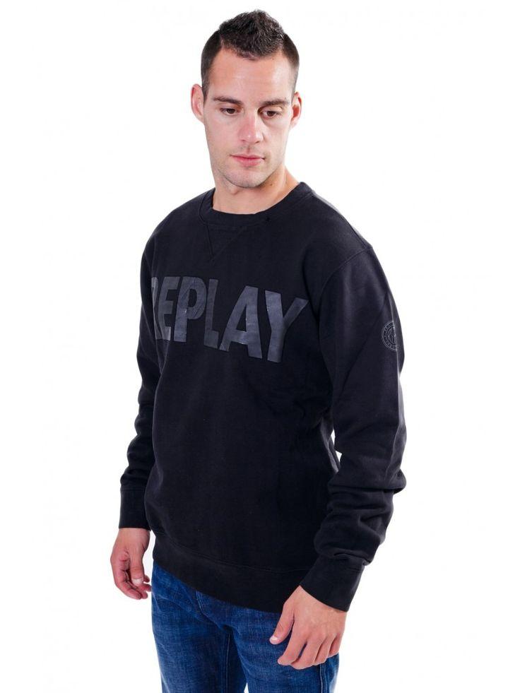 REPLAY Ανδρικό συλλεκτικό μακρυμάνικο φούτερ, μπλε ανάγλυφη στάμπα, μαύρο χρώμα. 89,00 €