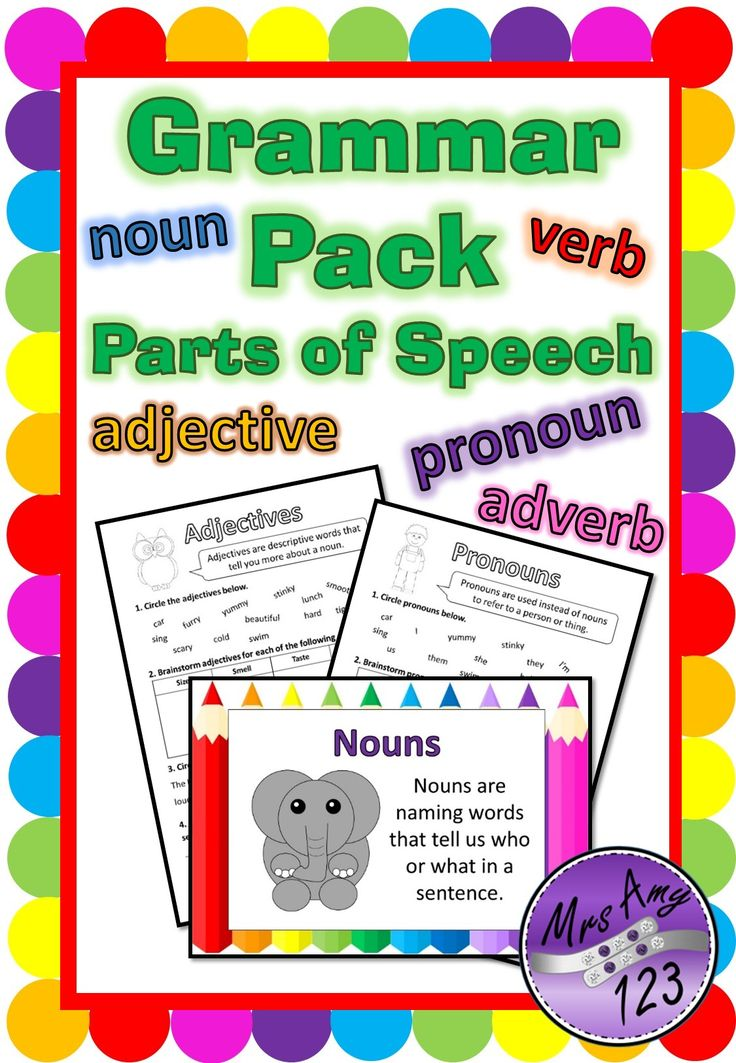 Grammar - Parts of Speech Package is great for teaching or revising parts of speech in a fun way with this pack which includes posters and worksheets for nouns, adjectives, verbs, pronouns and adverbs. Great for NAPLAN preparation! It contains 9 worksheet pages, plus 5 posters!