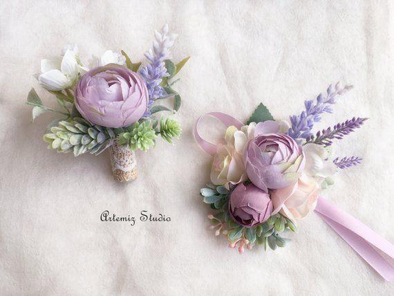 Rustic Boutonniere Lavender Boutonniere Purple Boutonniere Boho Boutonniere Wedding Boutonniere Silk Boutonniere Silk Wedding