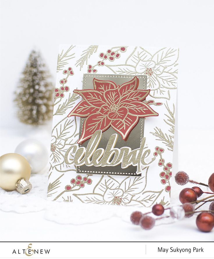 An absolutely stunning background for the lovely red poinsettia die cut. Love how it sits on a panel of gold to add a bit more bling! www.altenew.com
