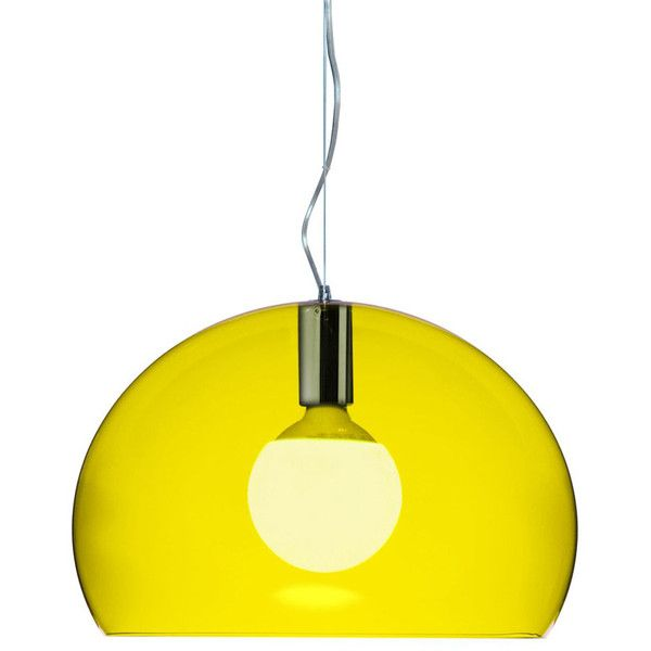 Kartell Small FL/Y Transparent Pendant Light - Yellow ($225) ❤ liked on Polyvore featuring home, lighting, ceiling lights, yellow, bubble pendant light, crystal clear lamps, bubble lights, kartell light and yellow lamp