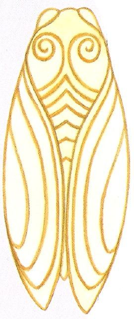 En dentelle figurative, je tâtonne, ce n'est vraiment pas aussi simple que la dentelle torchon, pour moi : Pour commencer je pars à la recherche d'un dessin stylisé de cigale. Je l'ai trouvé dans le livre « Motifs provencaux » : Ensuite je dois reporter...