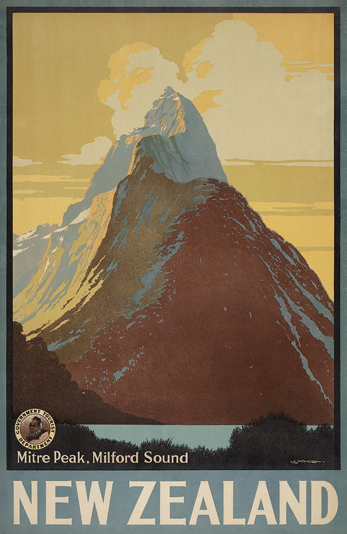 Mitre Peak, Milford Sound - NZ Government Tourist Department advertisement. Artwork by L.C. Mitchell. Artprints available from www.imagevault.co.nz