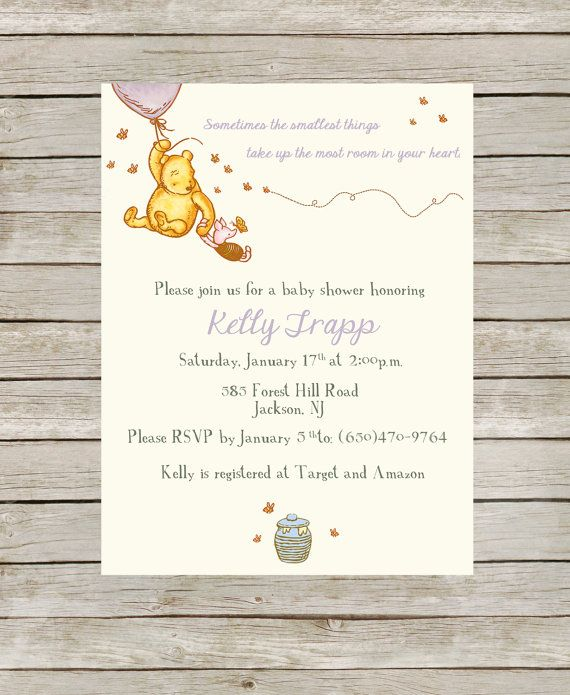 Classic Winnie the Pooh Themed Baby Shower Purple by JDTradingCo