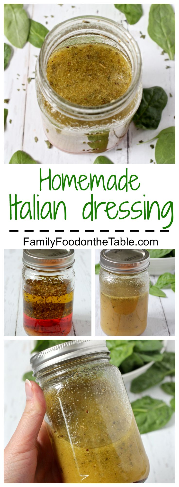 I add 1/2 tsp celery seed and 1/4 tsp red pepper to zest it up a bit! Homemade Italian dressing is as easy and measuring and shaking - so much healthier and tastier than store-bought! | FamilyFoodontheTable.com