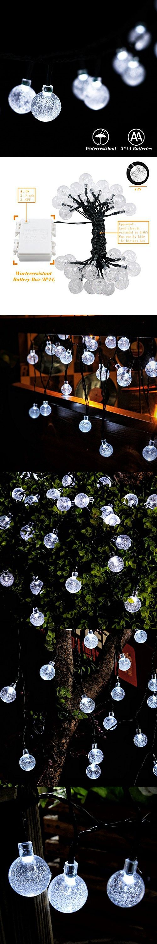 RECESKY Battery Operated Globe String Lights 30 LED 20.8ft Waterproof Fairy Crystal Ball Decor Lighting for Outdoor Indoor Garden Patio Party Home House Bedroom Christmas Tree Decorations (White)