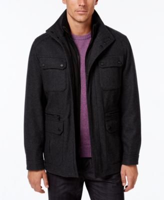 Michael Kors Men's Wool-Blend Field Coat with Attached Bib | macys.com