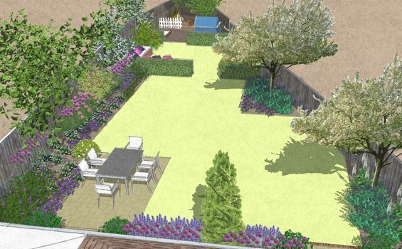 The Awkward Shape Of This Sloping Corner Plot And Several Neglected Overgrown Fruit Trees Meant The New In 2020 Garden Layout Backyard Garden Layout Garden Design