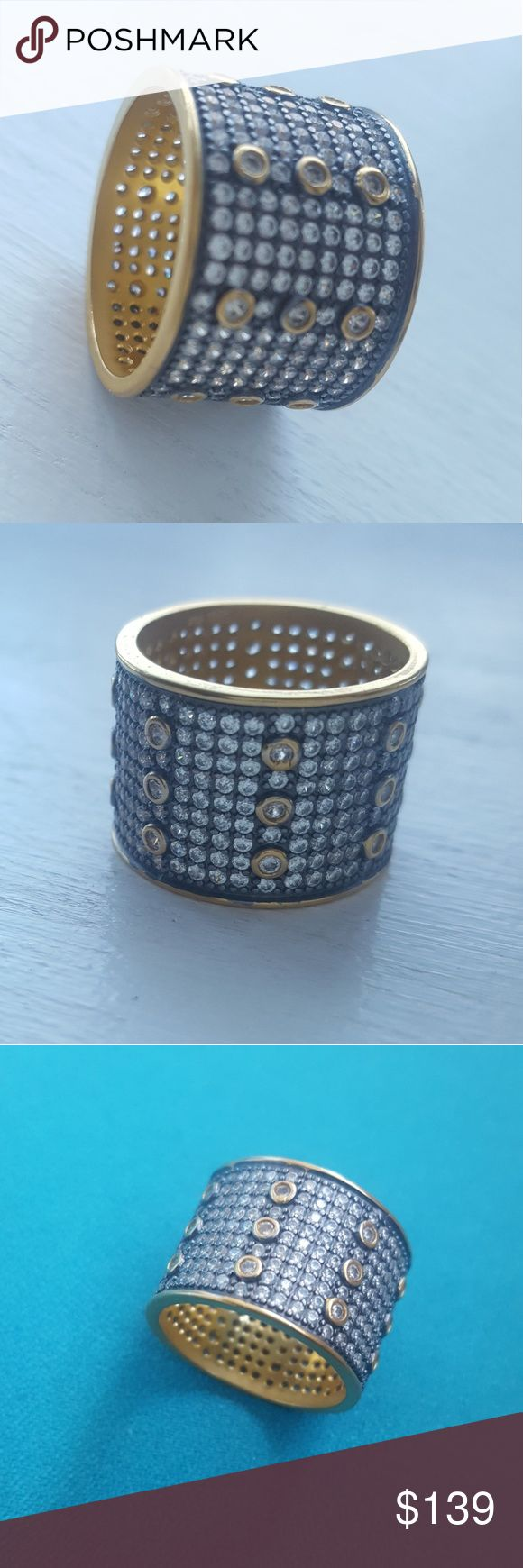 "Freida Rothman Designer 925'GP with CZ !💖 Its hand-dipped in 14k matte gold and black rhodium plated sterling silver and its hand-set with cubic zirconia stones!!!💖💖💖💖  DIMENSIONS Contemporary Deco Pave Cigar Band  RingSize 7 14KT Gold and Black Rhodium Plated Sterling Silver Band Measures: .5"" Wide Comes with its Designer Pouch:) Freida Rothman Jewelry Rings"