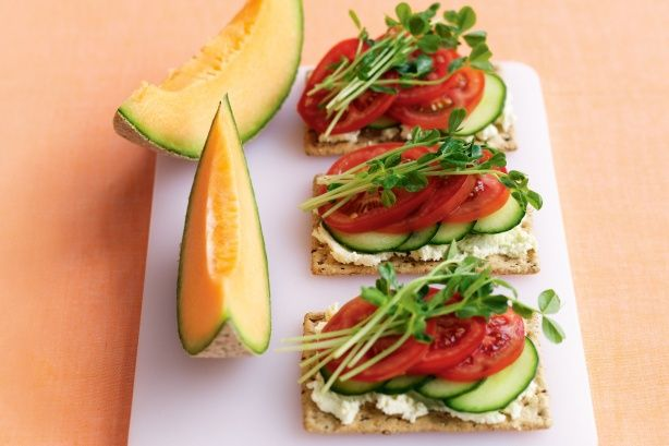 Ricotta, Tomato & Cucumber Crackers - A Healthy, Simple and Quick Lunch or Snack.