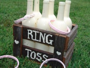 Homemade ring toss with wine bottles