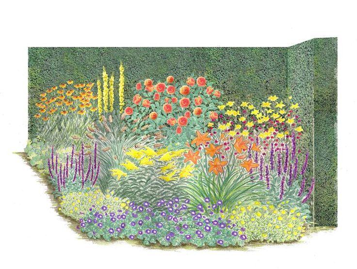 """Warm, leuchtend, positiv: Orange gilt als Farbe der Freude. Das Staudenbeet """"Feuerzauber"""" bringt fröhliche Stimmung in jeden Garten. Den Mittelpunkt bildet eine der schönsten Englischen Rosen, die `Pat Austin`. Sie kombiniert die..."""