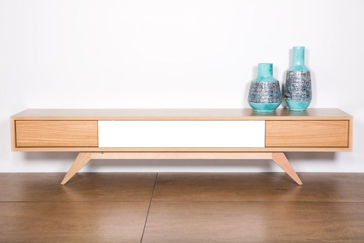Xavier Lowline TV Unit. Retro inspired piece handcrafted in Fremantle, can be designed and made to suite your size and colour. Pictured in Victorian Ash with a clear Acrylic finish. Also beautiful in Walnut.