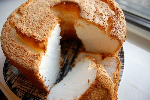 Angel food cake, or angel cake, is a type of sponge cake made with egg whites, flour, and sugar. A whipping agent, such as cream of tartar is commonly added. It differs from other cakes because it uses no butter.