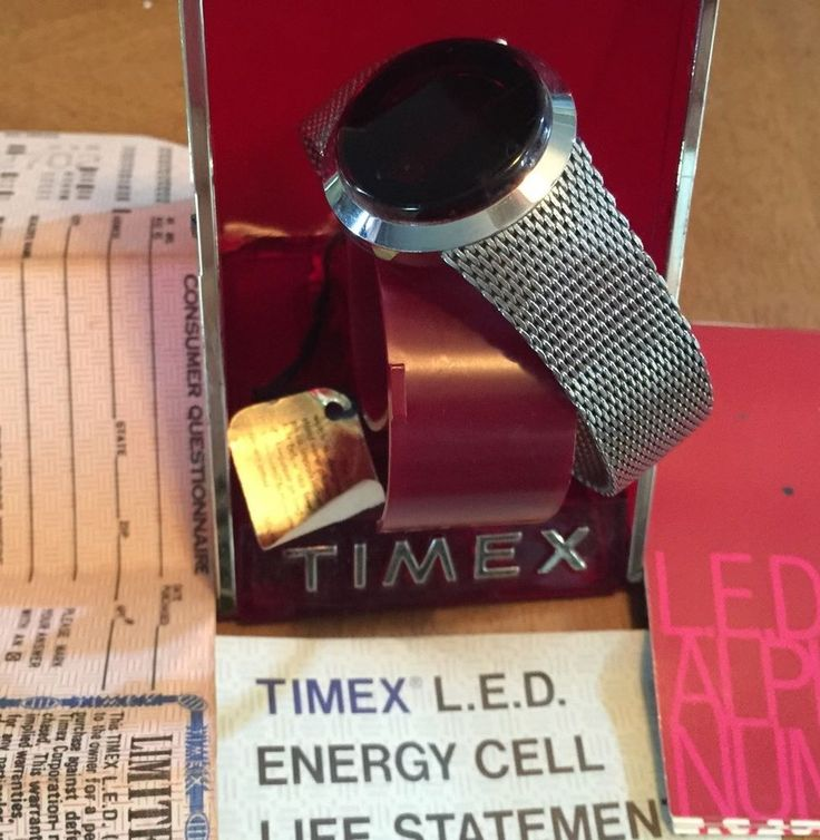 Timex SSQ Womens Vintage digital Led Stainless Steel Mesh w/ Case & Instructions #Timex