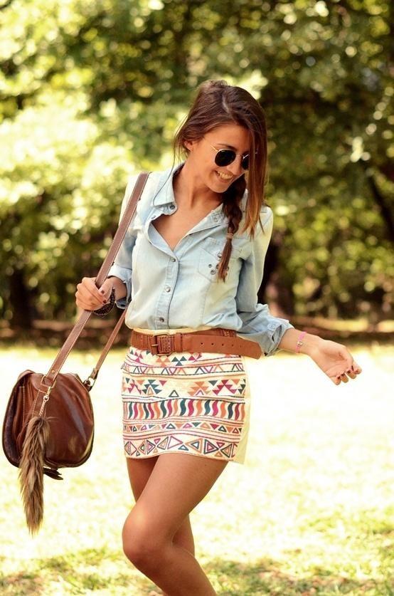 Denim and tribal print Ma veste jeans dynamite/jupe tribal/ceinture brune