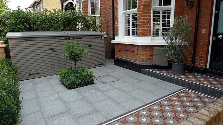 granite paving bike store topiary porch and path victorian mosaic tile path wimbeldon london