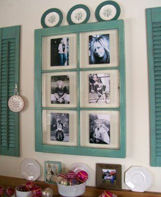 window shutters repurposed  | Emily . Just tape photos to the back of the glass in an old window ...